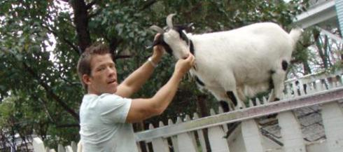 This is Sven Sundgaard with a goat.