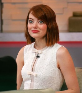 Emma Stone wears a white dress on 'Good Morning America' in NYC